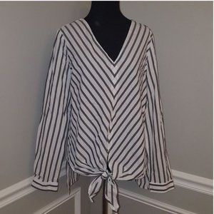 Max Edition Striped Long Sleeve Knot Waist Top